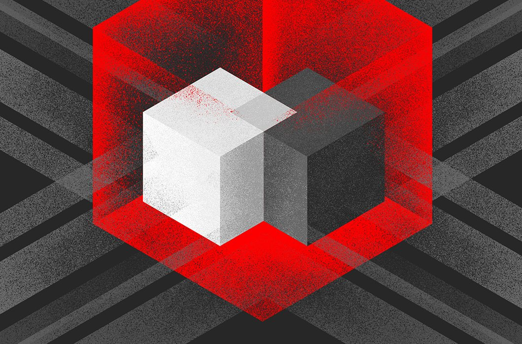 Black And Red Image Of Overlapping Boxes